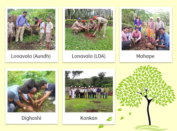 Plantation of Tree Saplings at Lonavala (Aundh & LDA), Mahape, Dighashi, Konkan