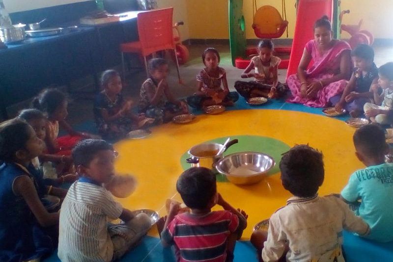 Children learn and play at the newly built anganwadis