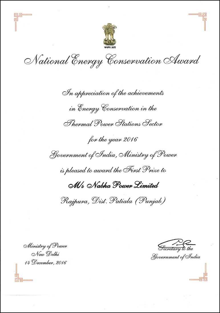 National Energy Conversation Award