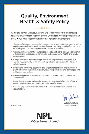 Quality, Environment, Health & Safety Policy