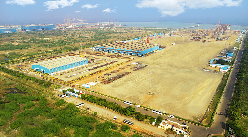 Aerial view of the Modular Fabrication Facility at Kattupalli