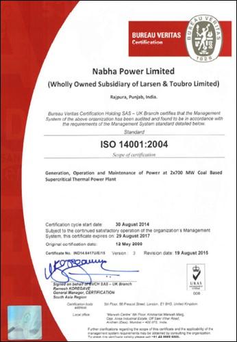 Env. Management system certification  ISO 14001:2004