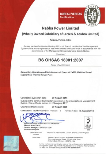 Safety Management System Certification BS OHSAS 18001:2007