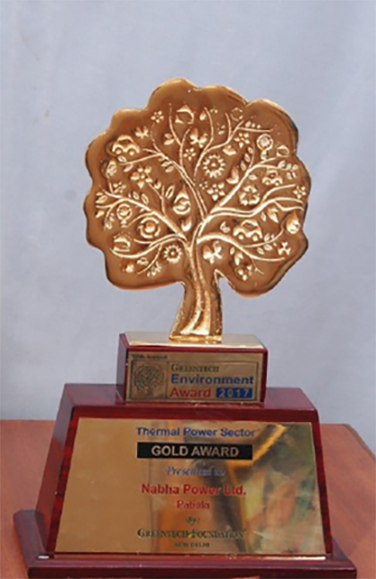 """Greentech Award in Gold category for Environment Management"" in Thermal Power Sector"