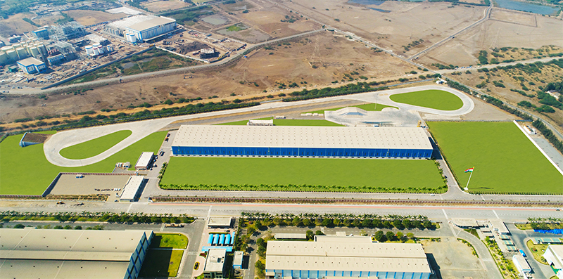 Bird's eye view of L&T's Armoured Systems Complex with a world-class mobility test track.